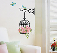 Birdcage Flower Wall Stickers Removable Home Decoration PVC For Kid Room