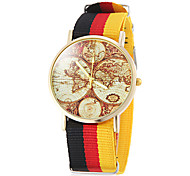 Unisex Earth Map Pattern National Style Fabric Band Quartz Wrist Watch (Assorted Colors) Cool Watches Unique Watches