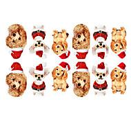 Недорогие -12PCS Мини домашних собак с Рождеством Hat Pattern Световой Nail Art Наклейки