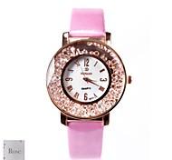 Персональный подарок Женская белый циферблат розовый PU Группа аналогового гравированные Часы с горный хрусталь