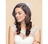 Недорогие -Свадебные вуали Один слой Короткая фата Фата клетки птицы 15,75 В (40 см) Тюль Атлас Белый ЧерныйПлатье-трапеция, бальное платье,