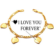 U7® Figaro Chain Gold Filled Chunky Gold Plated Charms Hearts Bracelets Bangles LOVE YOU FOREVER Letters 5MM 21CM