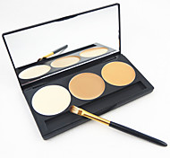 3 Colors Concealer Contours  Cosmetic Face with Makeup Brush