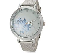 Женские Модные часы Кварцевый сплав Группа Винтаж Цветы Серебристый металл