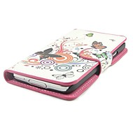 Flowers and Circles Pattern PU Leather Full Body Case with Stand and Card Slot for Samsung S5 Mini G800