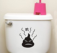 Cute  Bathroom Decoration Waterproof Stickers Poo Desigh Environmental Plastic(Blackx1pcs)