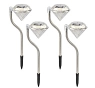 Set of 4 1-LED Color Changing Solar Powered Diamonds Lawn Light Pathway Garden Stake Lamp