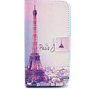 Pour Coque LG Porte Carte / Portefeuille / Avec Support / Clapet Coque Coque Intégrale Coque Tour Eiffel Dur Cuir PU LG
