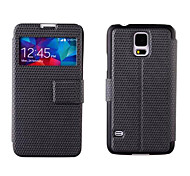 For Samsung Galaxy Case with Stand / with Windows / Flip Case Full Body Case Solid Color PU Leather Samsung S5