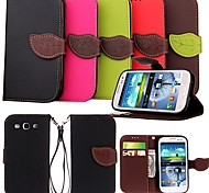 cheap -Case For Samsung Galaxy Samsung Galaxy Case Card Holder Wallet with Stand Flip Full Body Cases Solid Color PU Leather for S3