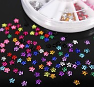 600PCS 12Colours Flower Shape Acrylic Rhinestones Wheel Nail Art Decoration