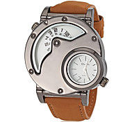 Men's Military Style Dual Time Zones Brown Leather Band Quartz Wrist Watch (Assorted Colors) Cool Watch Unique Watch