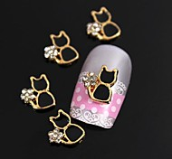 10шт золотили металла черная кошка горный хрусталь 3d сплава украшения искусства ногтя