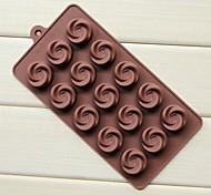 Недорогие -15-луночное вихрь поднялся форму торта льда желе для шоколада, силикон 21,7 × 10,8 × 1,7 см (8,5 × 4,3 × 0,7 icnh)