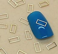 Недорогие -200шт полый прямоугольник формы золотой металл ломтик ногтей украшения