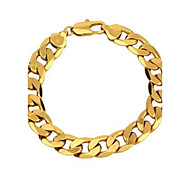 Vogue 22CM Men's 24K Yellow Gold Filled Bracelet Figaro Curb Link Chain 12MM Width Jewelry Christmas Gifts