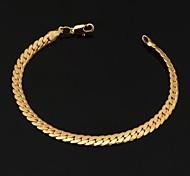 """Недорогие -u7® мужская 18k коренастый золота заполнены Фигаро Браслет-цепочка с """"18k"""" марки высокого качества для мужчин 6мм 21 см"""