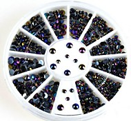 Glitter AB Black Acrylic Rhinestones Nail Art Decorations