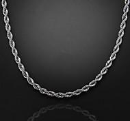 56см, 7 мм, посеребренная Figaro цепь мужская водоворот цепи ожерелье, непросто увядает