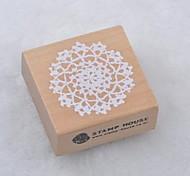 5cm x 5cm Square Romantic Floral Flower Pattern Wooden Stamps