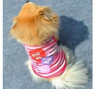 cheap -Cat Dog Shirt / T-Shirt Dog Clothes Fashion Stripe Hearts Purple Pink Costume For Pets