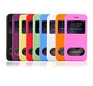New Smart Ultra Thin Frosted Flip Leather Transparent Double Window Phone Case for iPhone 6