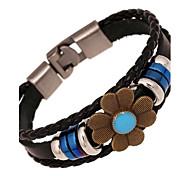 leather Charm BraceletsZ&X®  Vintage Punk Flower Leather Strand Bracelets
