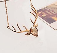 Statement Necklaces Crystal Animal Shape Deer Crystal Rhinestone Gold Plated Alloy Costume Jewelry Jewelry For Party Daily Casual