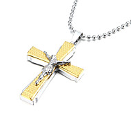 Jesus Thick Zinc Alloy Gold Silver Crucifix Cross Pendant Necklace Christmas Gifts