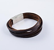 Fashion Men's Multi-turn PU Leather Bracelets Jewelry Christmas Gifts