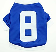 Cat Dog Shirt / T-Shirt Jersey Dog Clothes Casual/Daily Sports Letter & Number Blue Costume For Pets