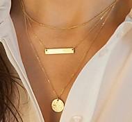 Жен. Ожерелья-цепочки Слоистые ожерелья Геометрической формы Сплав Мода европейский Многослойный Пайетки бижутерия Бижутерия Назначение
