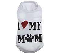 Gatti / Cani T-shirt Bianco Abbigliamento per cani Primavera/Autunno Cuori / Lettere & Numeri