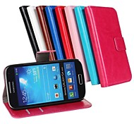 cheap -Case For Samsung Galaxy Samsung Galaxy Case Card Holder with Stand Flip Full Body Cases Solid Color PU Leather for S4 Mini