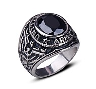 Men's Ring Band Rings Synthetic Sapphire Black Gemstone Punk European Synthetic Gemstones Stainless Steel Jewelry For Gift