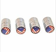 DIY American Flag Pattern Universal Tire Air Valve Caps--Silver(4PCS)