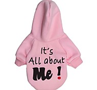 Cat / Dog Hoodie Blue / White / Pink Dog Clothes Winter Letter & Number