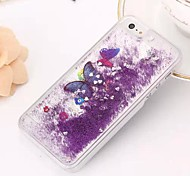 Fashion Transparent Glitter Sand Bling Quicksand Butterfly Pattern Case Cover for iPhone 6 Plus(Assorted Colors)