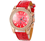 Women's Diamante Gold Case Red Leather Band Quartz Fashion Watch Cool Watches Unique Watches Strap Watch