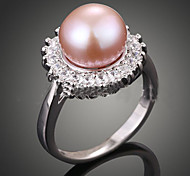 cheap -Women's Pearl Imitation Pearl Zircon Cubic Zirconia Pink Pearl Alloy Statement Ring - Luxury Fashion Cream Dark Pink Ring For Party