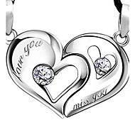 925 любителей Серебряное сердце сердце поцелуй подвеска (пара продаже)