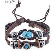 Недорогие -старинные янтарные бисер кожаный браслет классический женский стиль