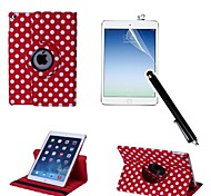 cheap -Polka Dot PU Leather Full Body Case with Touch Pen and Protective Film 2 Pcs for iPad Air 2/iPad 6