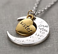 Women's Pendant Necklaces Heart Moon Alloy Love Fashion Personalized Costume Jewelry Jewelry For Gift Daily Casual
