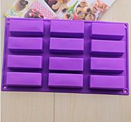 12 Hole Rectangular Shape Cake Ice Jelly Chocolate Molds,Silicone 29.5×17×3 CM(11.7×6.7×1.2 INCH)
