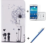 Lover and Dandelion Pattern PU Leather Full Body Case with Stand and Capacitance Pen for Samsung Galaxy Grand 2 G7106