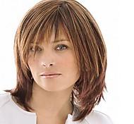 монолитным цветовой гаммы средней длины высокого качества естественные прямые волосы синтетический парик с полной челкой