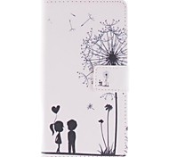 Lover and Dandelion Pattern PU Leather Full Body Case with Stand and Card Slot for Huawei P7