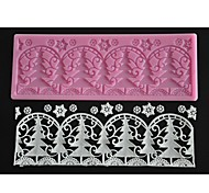 FOUR-C Embossing Lace Mat Christmas Tree Cake Design Mold Color Pink