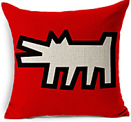 Modern Style Abstract Dog Patterned Cotton/Linen Decorative Pillow Cover
